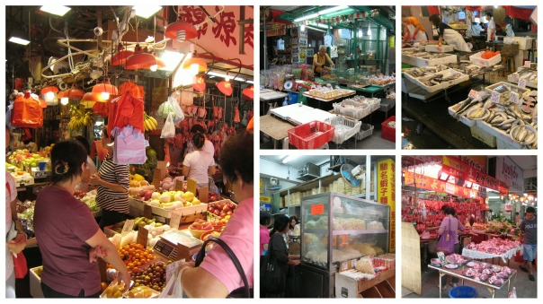 L: fruit stall -- L top: stall selling candies and dried fruit by the lb. -- R top: another fish monger L bottom:  stall selling noodles -- R bottom: meat stall