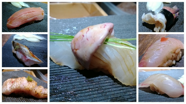Left top: Kinki - Left middle: Tamasu - Left bottom: Seared Toro - MIddle: Kawahagi with liver Right top: Hokkigai - Right middle: Sutsuki - Right bottom: Shimaji