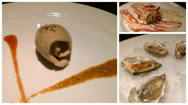 L: duck parfait, R top: cured pork belly, R bottom: oysters