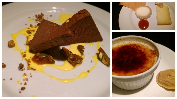 L: chocolate terrain, R top: sheep hard cheese and soft goat cheese, R bottom: caramel crème brulee with ginger cookie